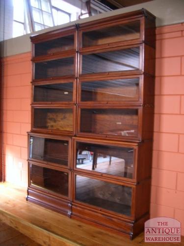 antieke mahonie boekenkast drievoudig