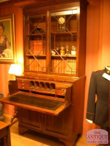 antiek engels secretaire boekenkast